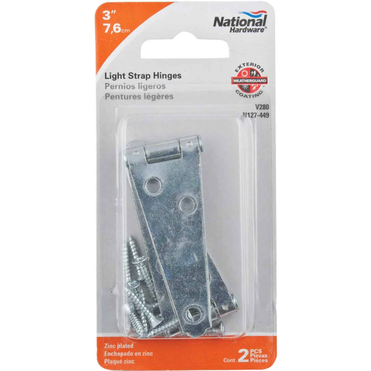 National 3 In. Zinc Light Strap Hinge Image 2