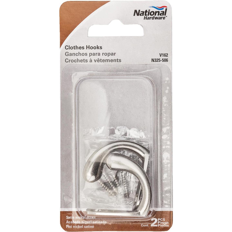 National Satin Nickel Single Clothes Wardrobe Hook, 2 per Card Image 2