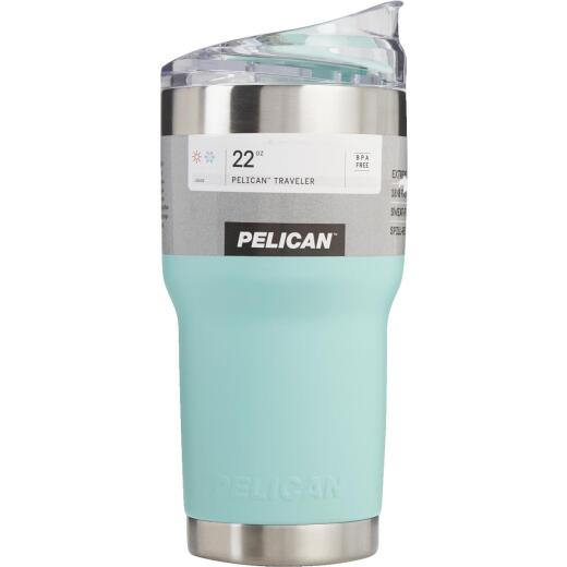 PELICAN 22 Oz. Seafoam Green Stainless Steel Insulated Tumbler with Slide Closure