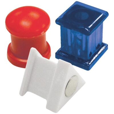 Master Magnetics 5/8 In. H. Red/White/Blue Plastic Magnetic Note Holder Push Pins (6-Pack)