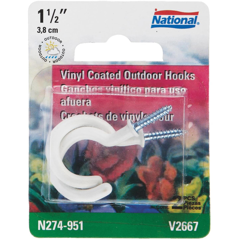National White Vinyl-Coated Ceiling Hook (2 Pack) Image 1