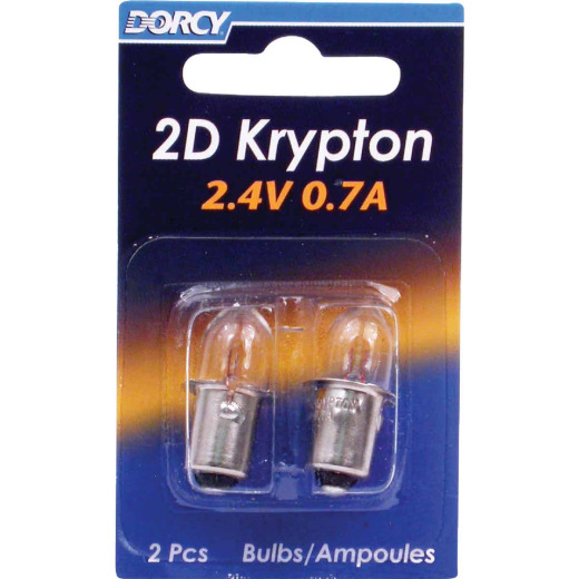 Dorcy 2D Krypton 2.4V 0.7A Flashlight Bulb (2-Pack)