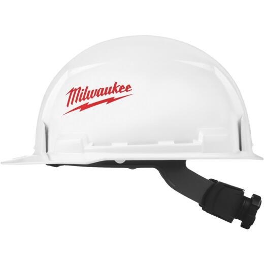 Milwaukee White & Red Front Brim Ratcheting Type 1 Class E Hard Hat